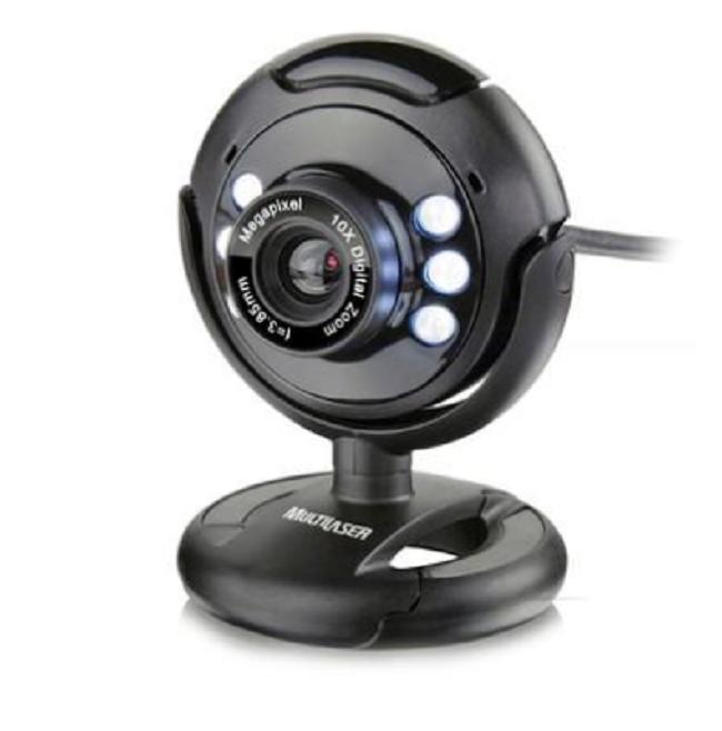 WEB CAM USB Wc045 Night Vison com Microfone Preto Multilaser