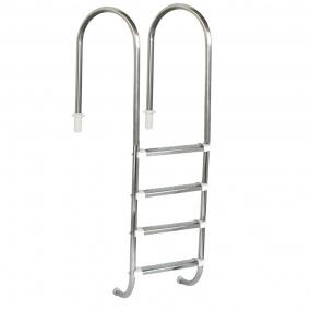 """Escada Marinheiro 1 1/2"""" em Aço Inox 4 Degraus Anatômicos em Inox"""