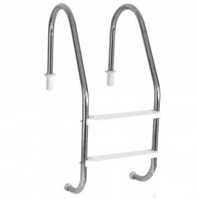 """Escada Tradicional 1 1/2"""" em Aço Inox 2 Degraus Anatômicos em ABS"""