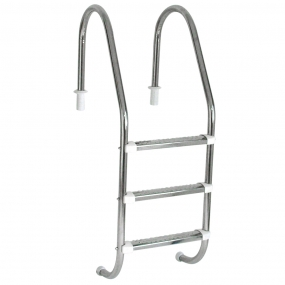 """Escada Tradicional 1 1/2"""" em Aço Inox 3 Degraus Anatômicos em Inox"""
