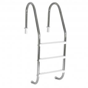 """Escada Tradicional 2"""" em Aço Inox 3 Degraus Anatômicos em ABS"""