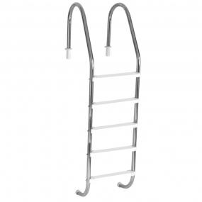"""Escada Tradicional 2"""" em Aço Inox 5 Degraus Anatômicos em ABS"""