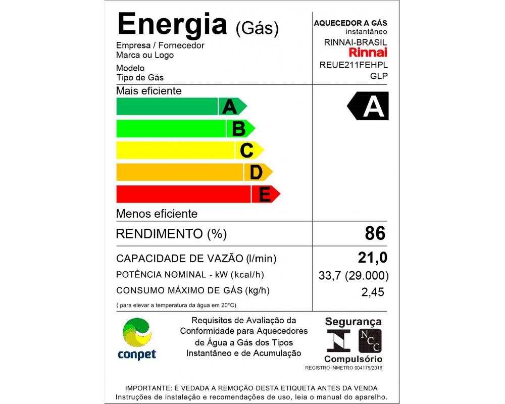 Aquecedor a Gás Digital Rinnai REU-E210
