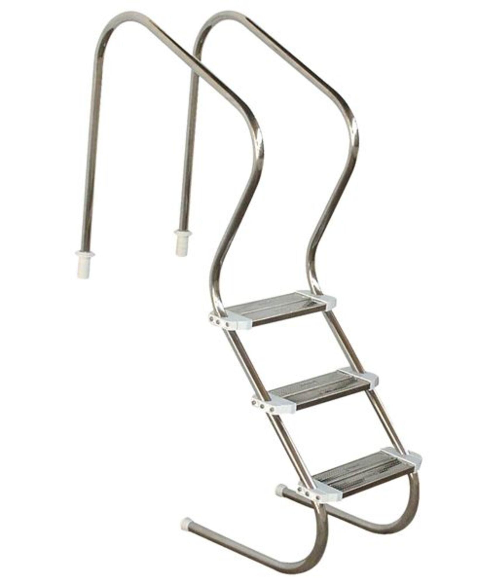 """Escada em aço inox Comfort 2"""" com 3 degraus duplos em aço inox"""
