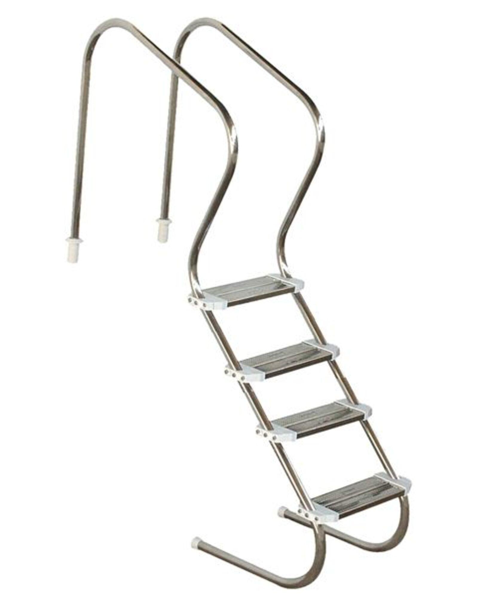 """Escada em aço inox Comfort 2"""" com 4 degraus duplos em aço inox"""