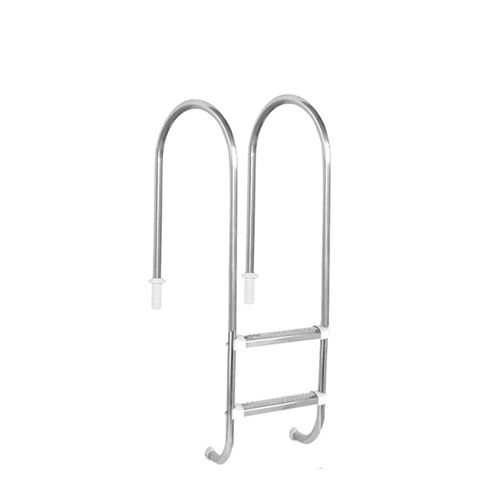 """Escada Marinheiro 1 1/2"""" em Aço Inox 2 Degraus Anatômicos em Inox"""