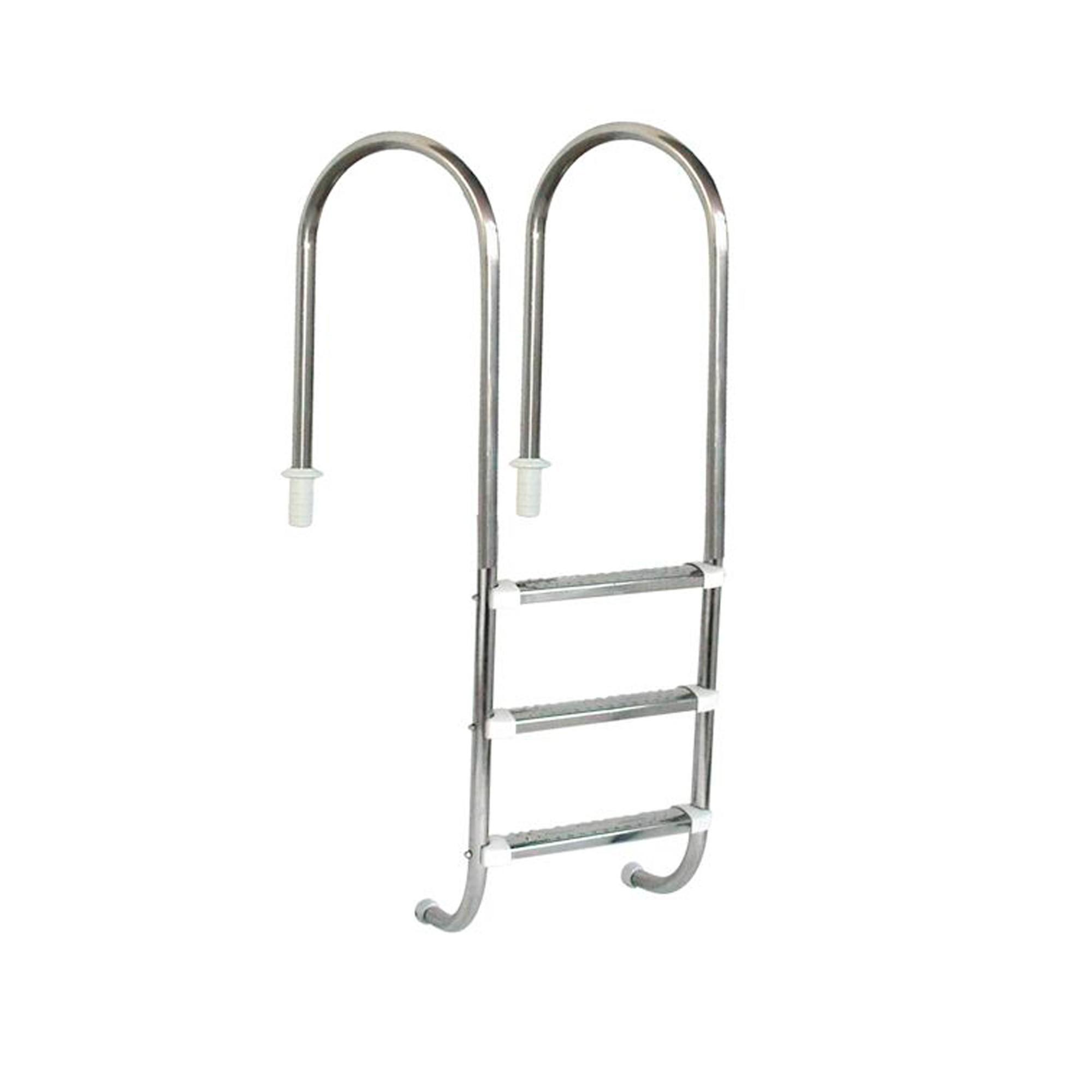 """Escada Marinheiro 1 1/2"""" em Aço Inox 3 Degraus Anatômicos em Inox"""