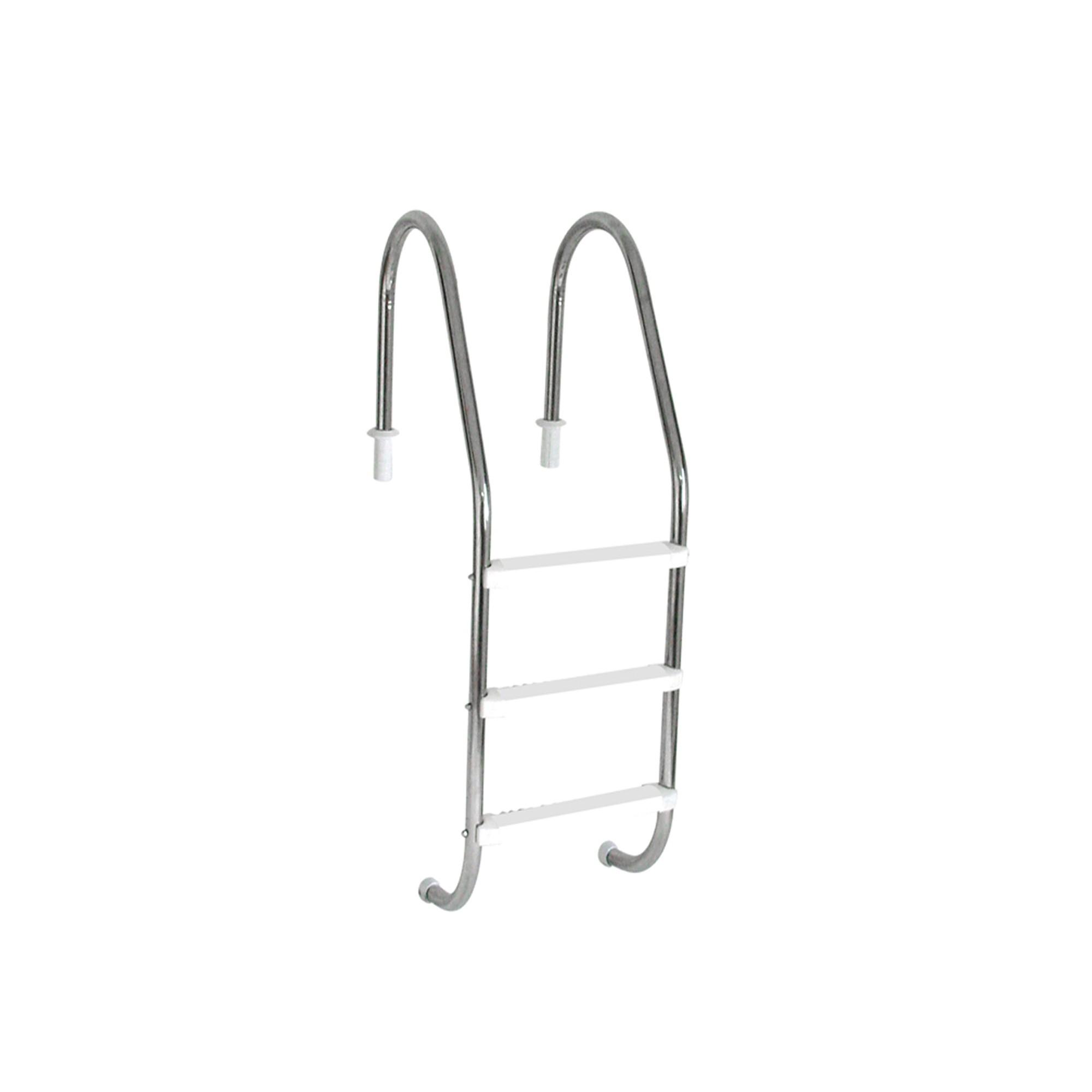 """Escada Tradicional 1 1/2"""" em Aço Inox 3 Degraus Anatômicos em ABS"""