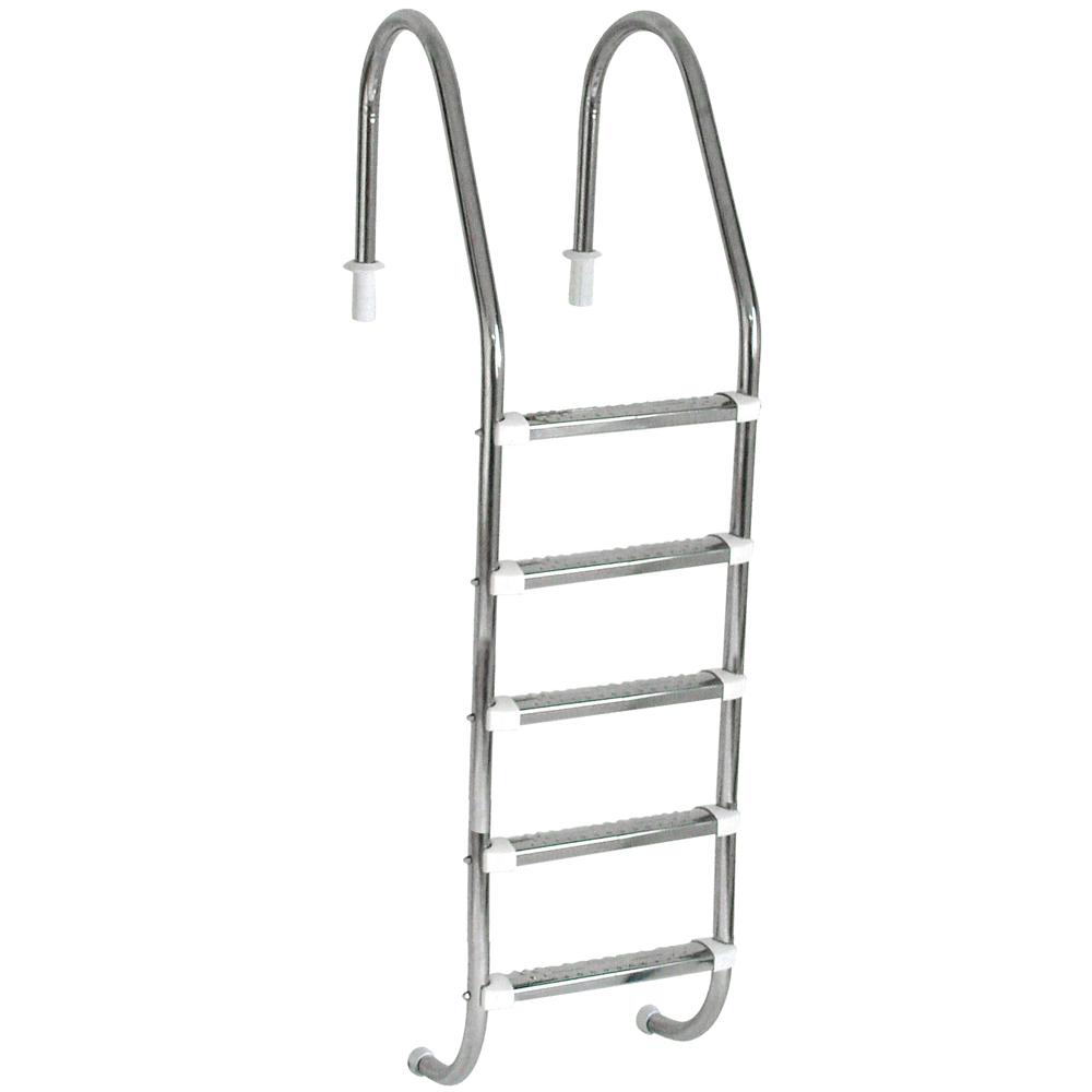 """Escada Tradicional 1 1/2"""" em Aço Inox 5 Degraus Anatômicos em Inox"""