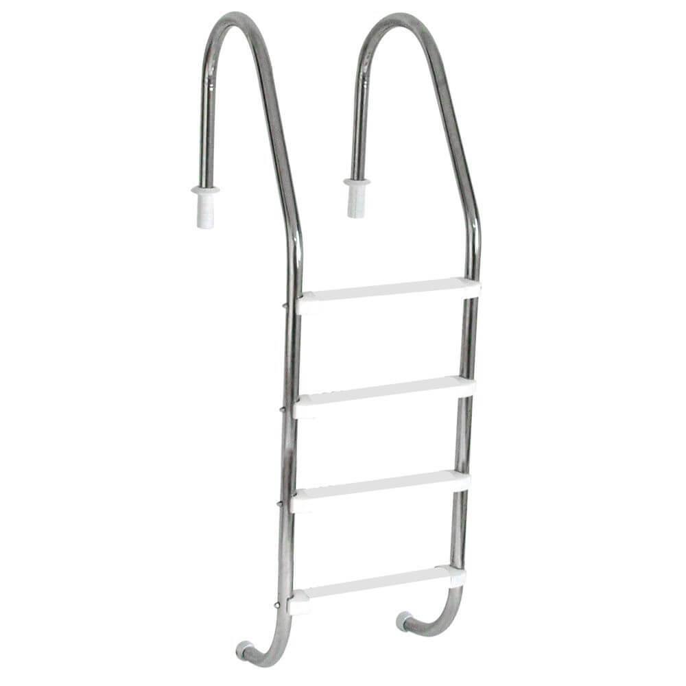 """Escada Tradicional 2"""" em Aço Inox 4 Degraus Anatômicos em ABS"""