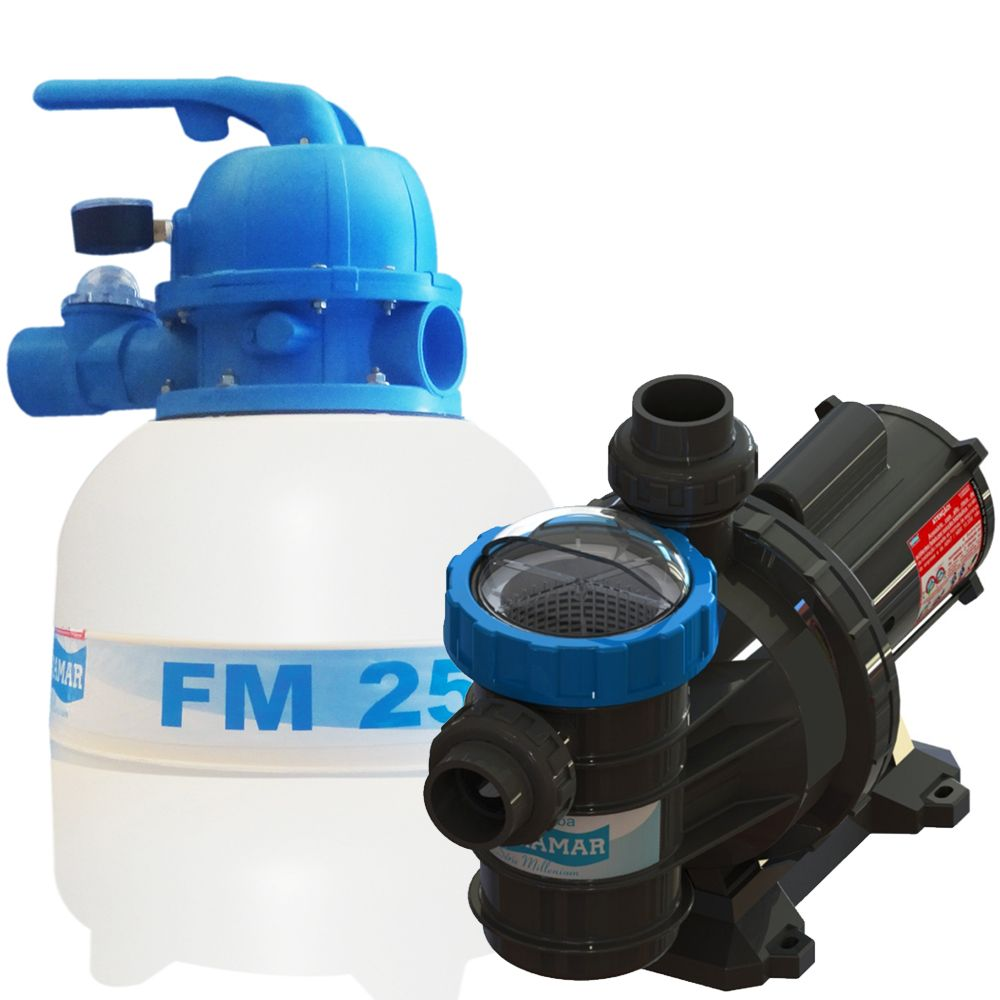 Filtro FM-25 e Bomba 1/4cv BMC-25 p/ piscinas de até 19 mil litros