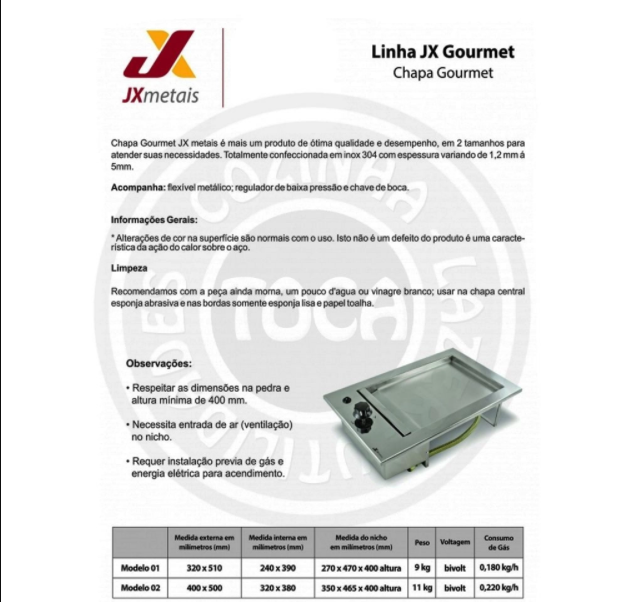 JX Chapa Gourmet Gás - 40X50