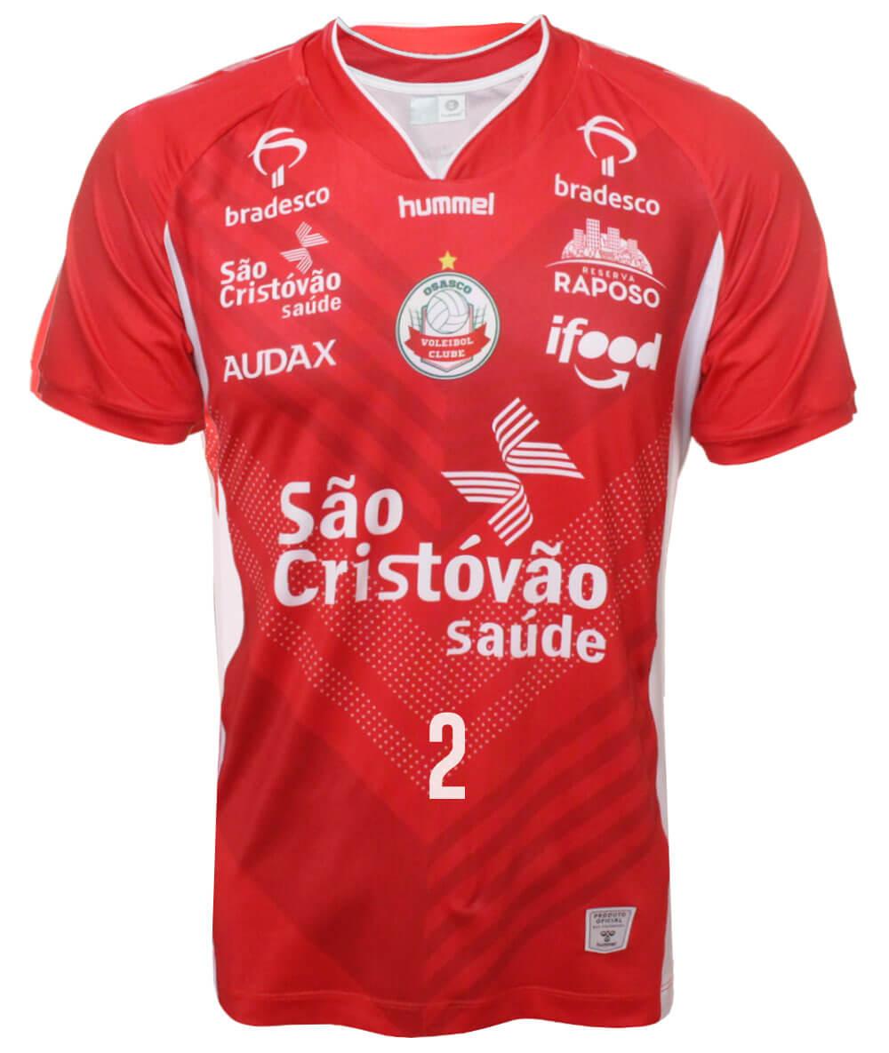 Camisa de Vôlei Osasco 2020/21 Vermelha - N°2 Carol Albuquerque - Masculina