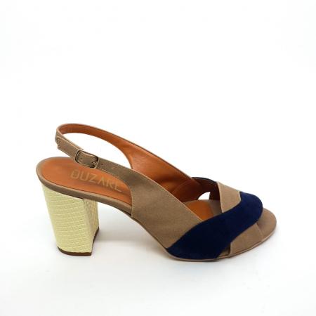 Sandália Azul com Nude Salto Bloco