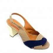 Sandália Azul com Nude, Salto Pérola