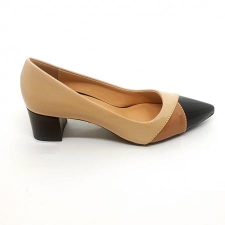 Sapato Scarpin Nude Verniz Salto Bloco