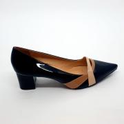 Sapato Scarpin Preto em Verniz Salto Bloco