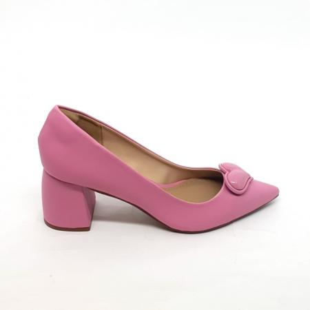 Sapato Scarpin Rosa Salto Bloco