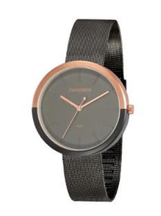 Relógio Detalhe Rosé Minimalista Chumbo