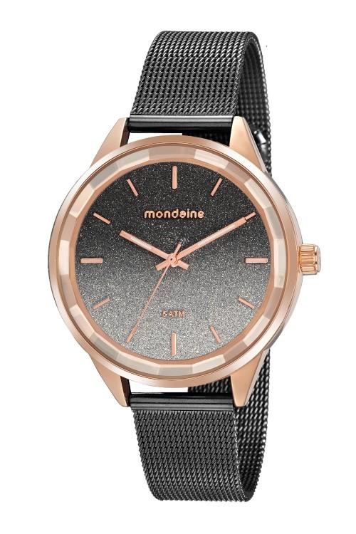 Relógio Vidro Facetado Preto