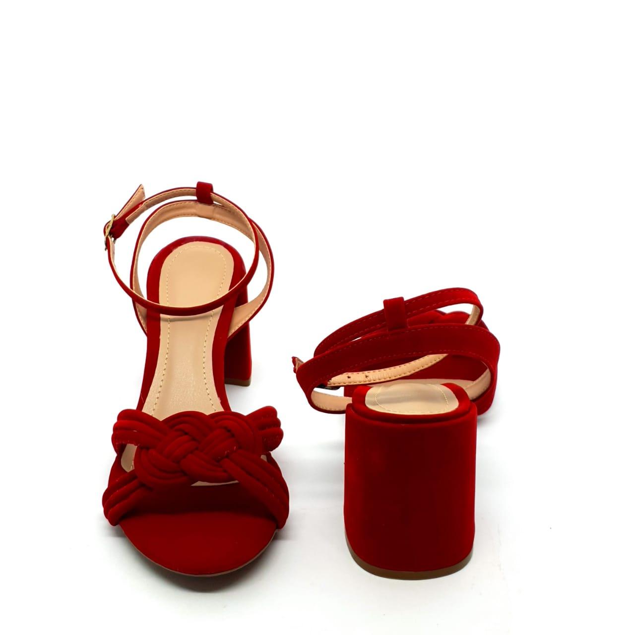 Sandália vermelha salto bloco