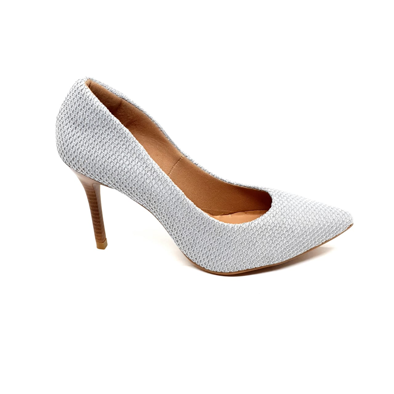 Sapato Scarpin Cinza com Brilho