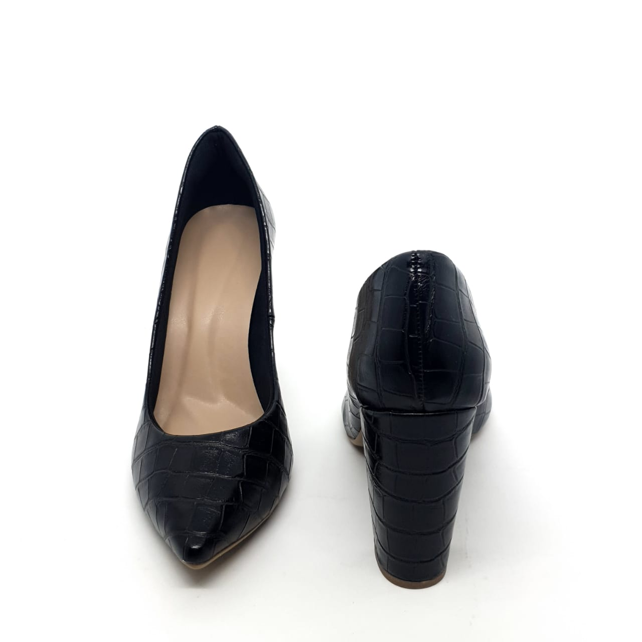 Sapato Scarpin Preto salto bloco