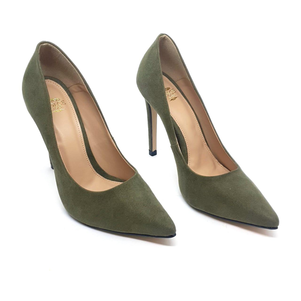 Sapato Scarpin Verde Militar