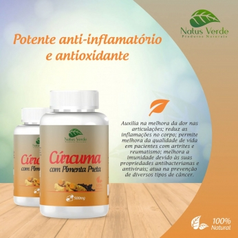 Anti-Inflamatório Natural Curcuma Com Pimenta Preta 60 Cap. Natus Verde