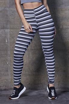 Calça Legging Ziper Listrada