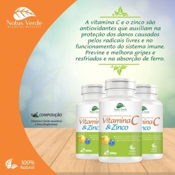 Suplemento Alimentar a Base de Vitamina C e zinco 500mg 60 Caps Natus Verde