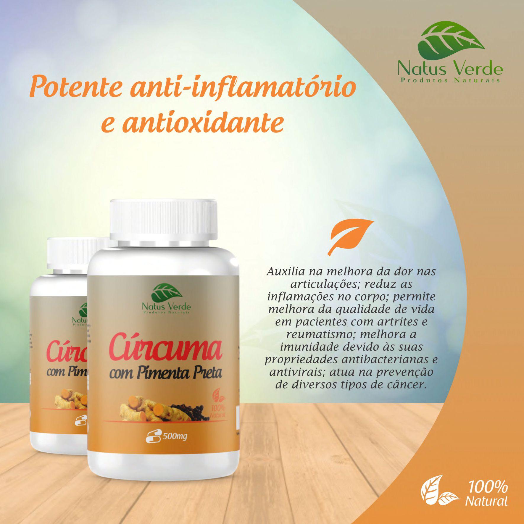 Anti-Inflamatório Natural Curcuma Com Pimenta Preta 60 Cap. Natus Verde  - Fribasex - Fabricasex.com