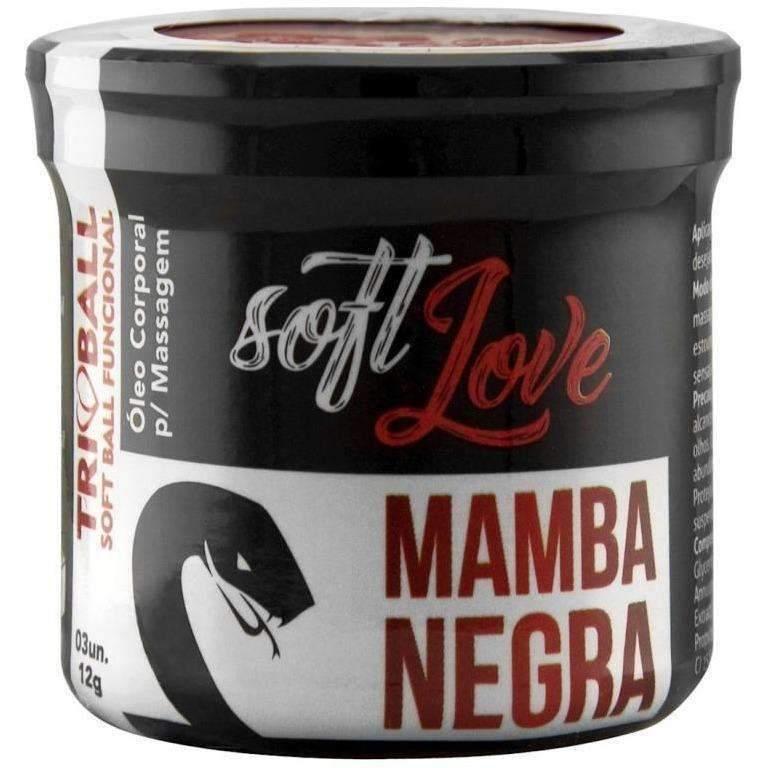 Atacado Sex Shop  Soft Ball Triball Mamba Negra 12g 03 Unidades Soft Love  - Fribasex - Fabricasex.com
