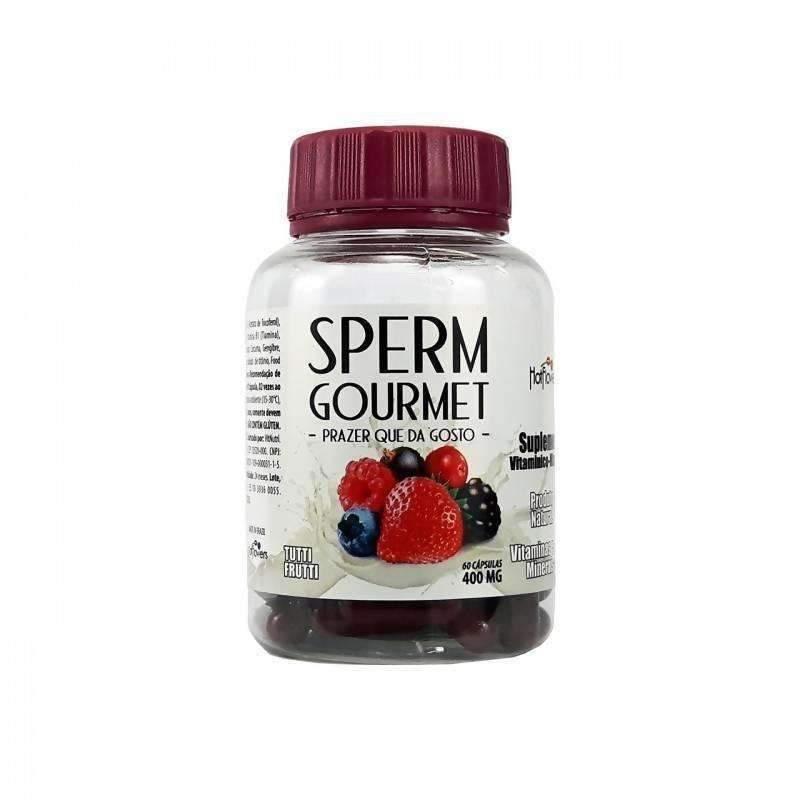 Atacado Sex Shop  Sperm Gourmet 60 Cápsulas Tutti Frutti Hot Flowers  - Fribasex - Fabricasex.com