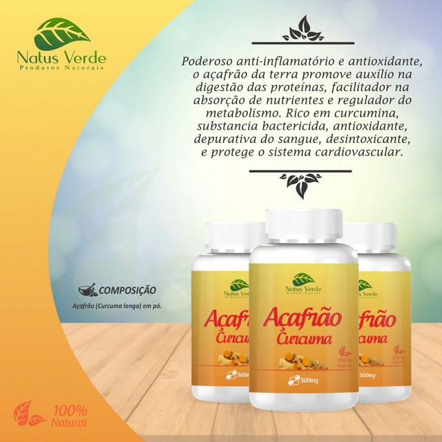 Complemento Alimentício Açafrão 60 Caps Natus Verdes 60 caps  - Fribasex - Fabricasex.com