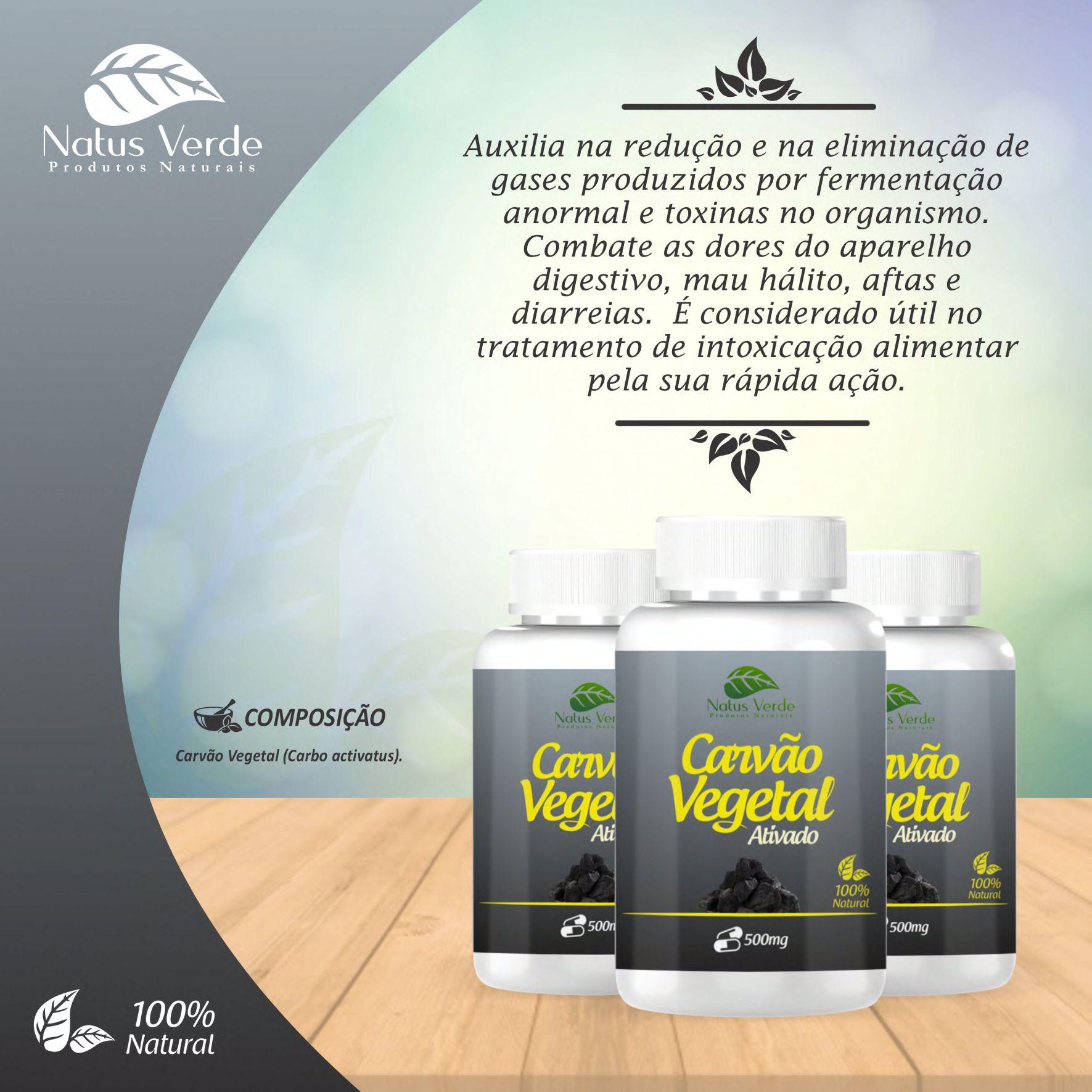 Complemento Alimentício Carvão Vegetal Ativado Natus Verde 60  caps  - Fribasex - Fabricasex.com