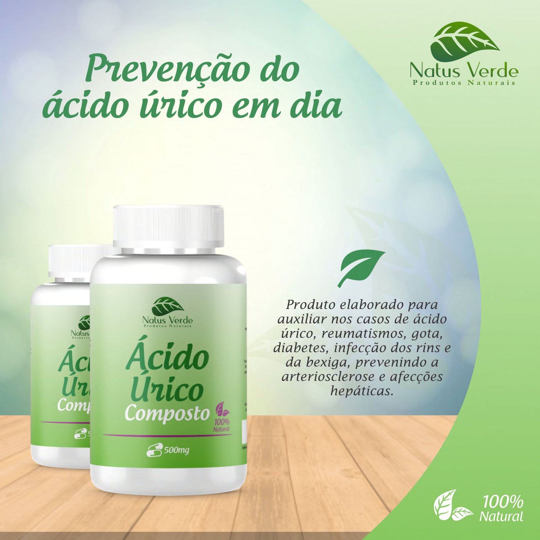 Composto Ácido Úrico Produtos naturais Natus Verdes 60 caps  - Fribasex - Fabricasex.com