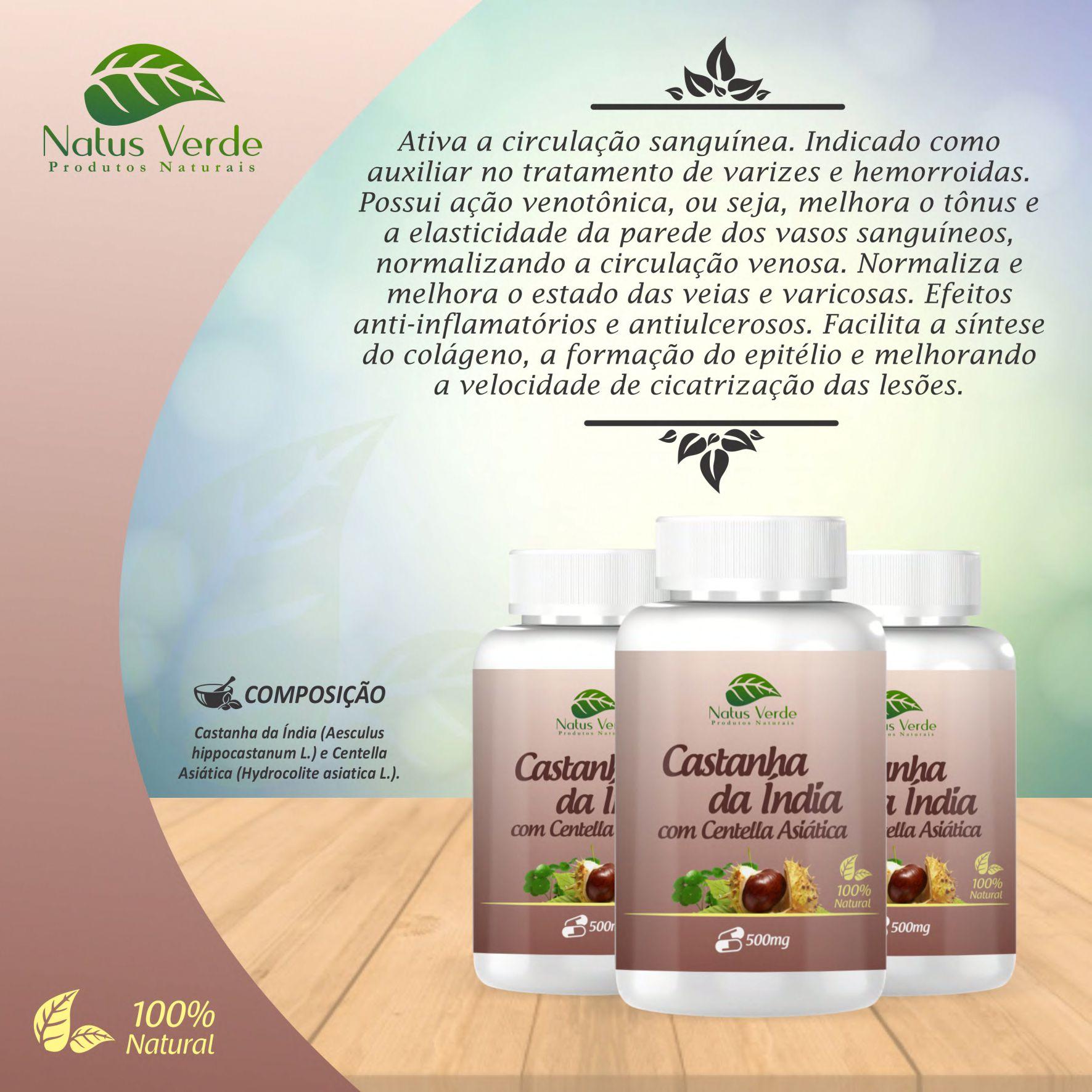 Composto Alimentício Castanha da Índia com Centella Asiática Natus Verde 60 caps  - Fribasex - Fabricasex.com