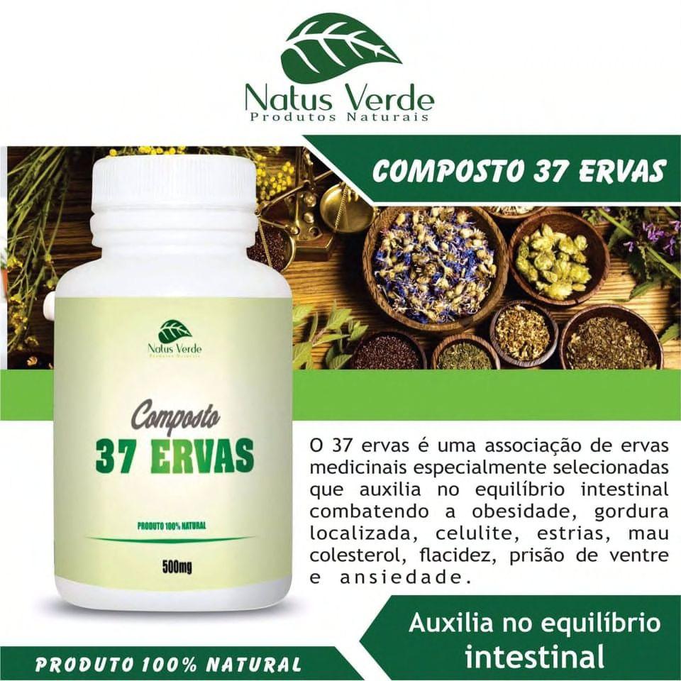 Composto com 37 ERVAS 60 CAPS Produtos naturais Natus Verdes 60 Caps  - Fribasex - Fabricasex.com