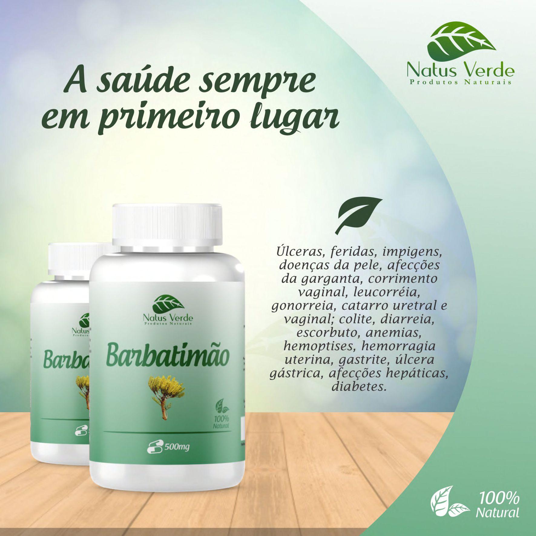 Composto natural Barbatimão Natus Verdes 60 caps  - Fribasex - Fabricasex.com