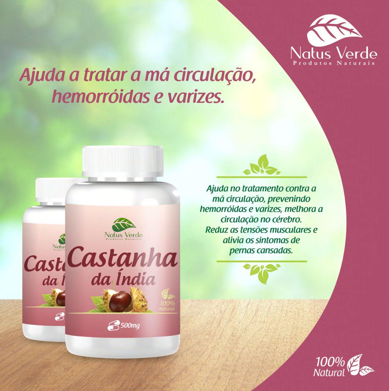 Composto natural Castanha da índia 60 caps Natus Verde   - Fribasex - Fabricasex.com