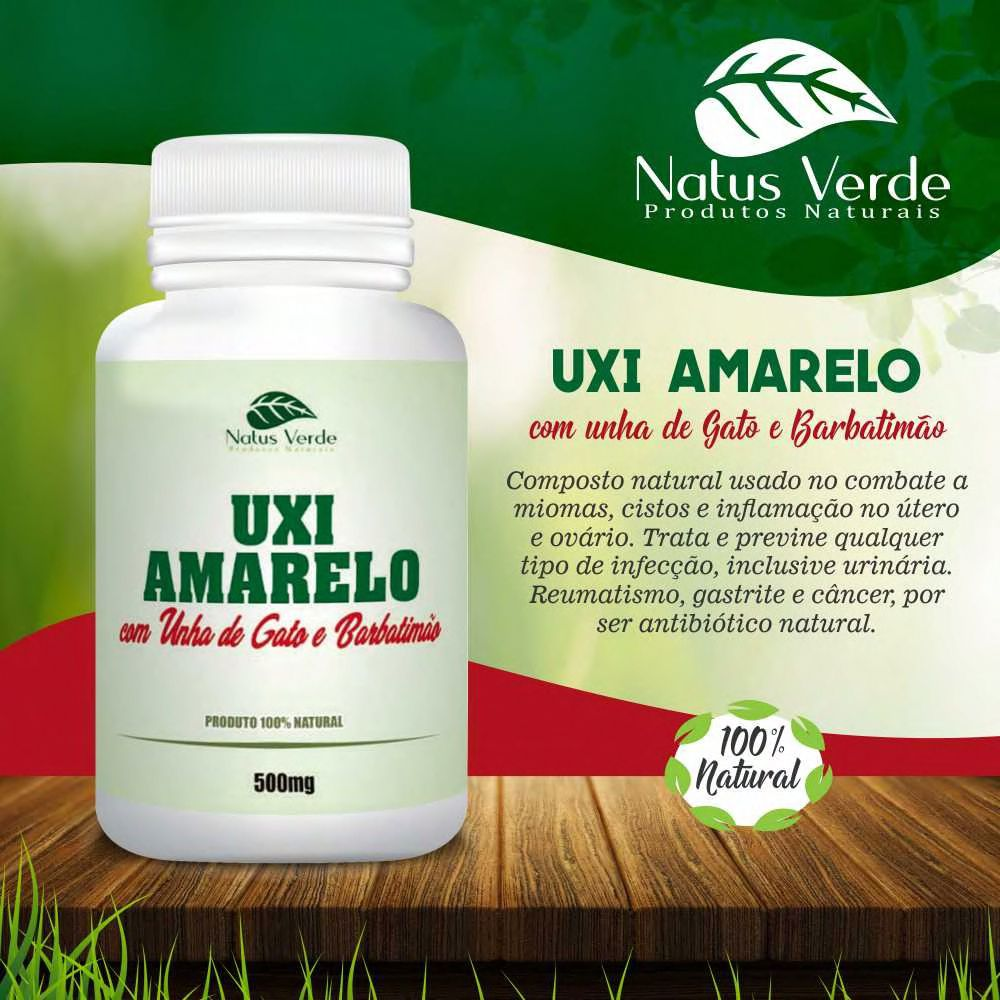 Composto Natural de Uxi Amarelo com Unha de Gato e Barbatimão 500mg 60 Caps Natus Verde  - Fribasex - Fabricasex.com