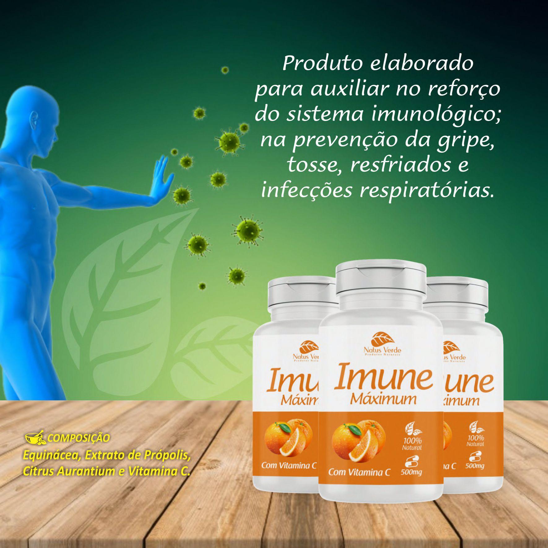 Composto Natural Imune Maximum com Vitamina-C 60 Caps Natus Verde  - Fribasex - Fabricasex.com