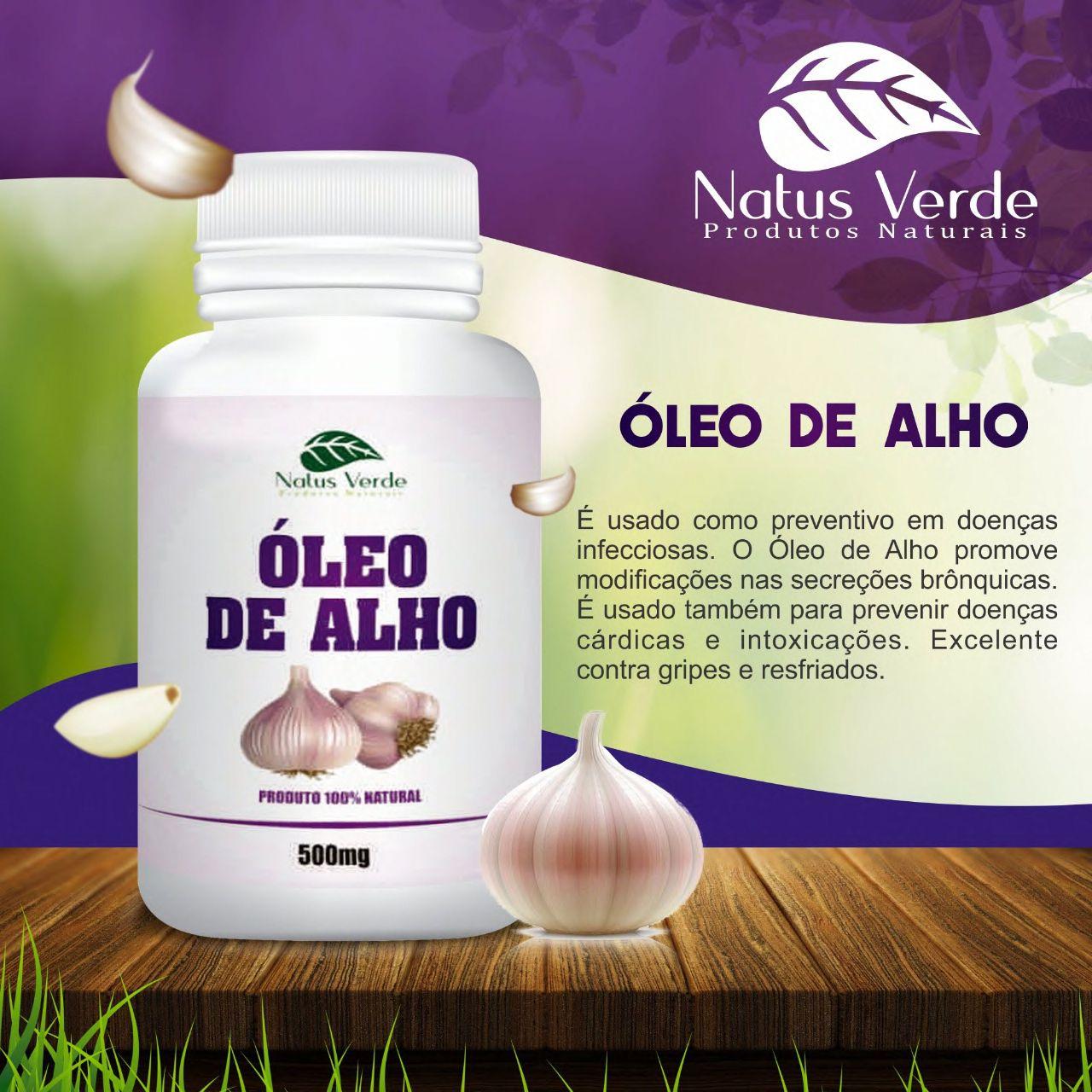 Composto Natural óleo de alho 60 Caps Natus Verde  - Fribasex - Fabricasex.com