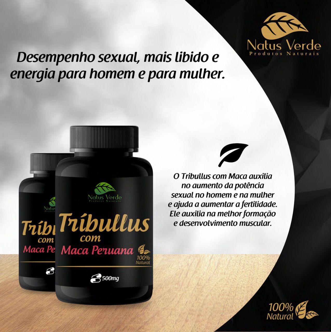 Composto Natural Tríbulus com Maca Peruana 500mg 60 Caps Natus Verde  - Fribasex - Fabricasex.com