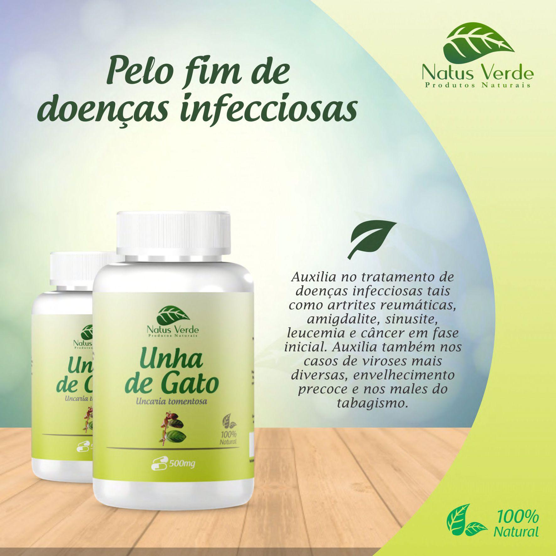 Composto Natural Unha de Gato 500mg 60Caps Natus Verde  - Fribasex - Fabricasex.com