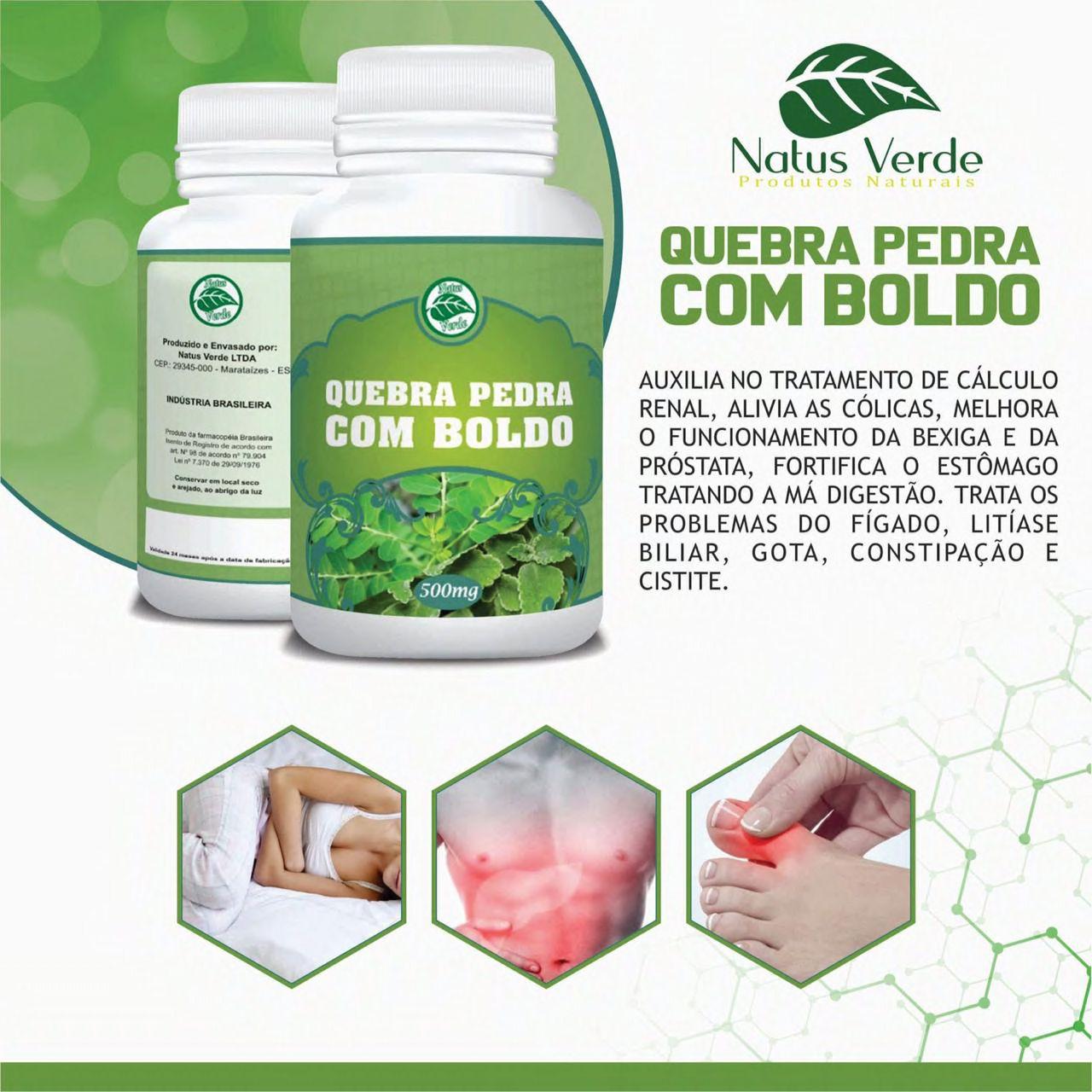 Composto Quebra Pedra com Boldo 60 Caps Natus Verdes  - Fribasex - Fabricasex.com