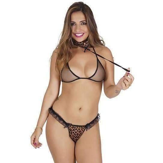 Conjunto Lingerie Tanga Felina  - Fribasex - Fabricasex.com