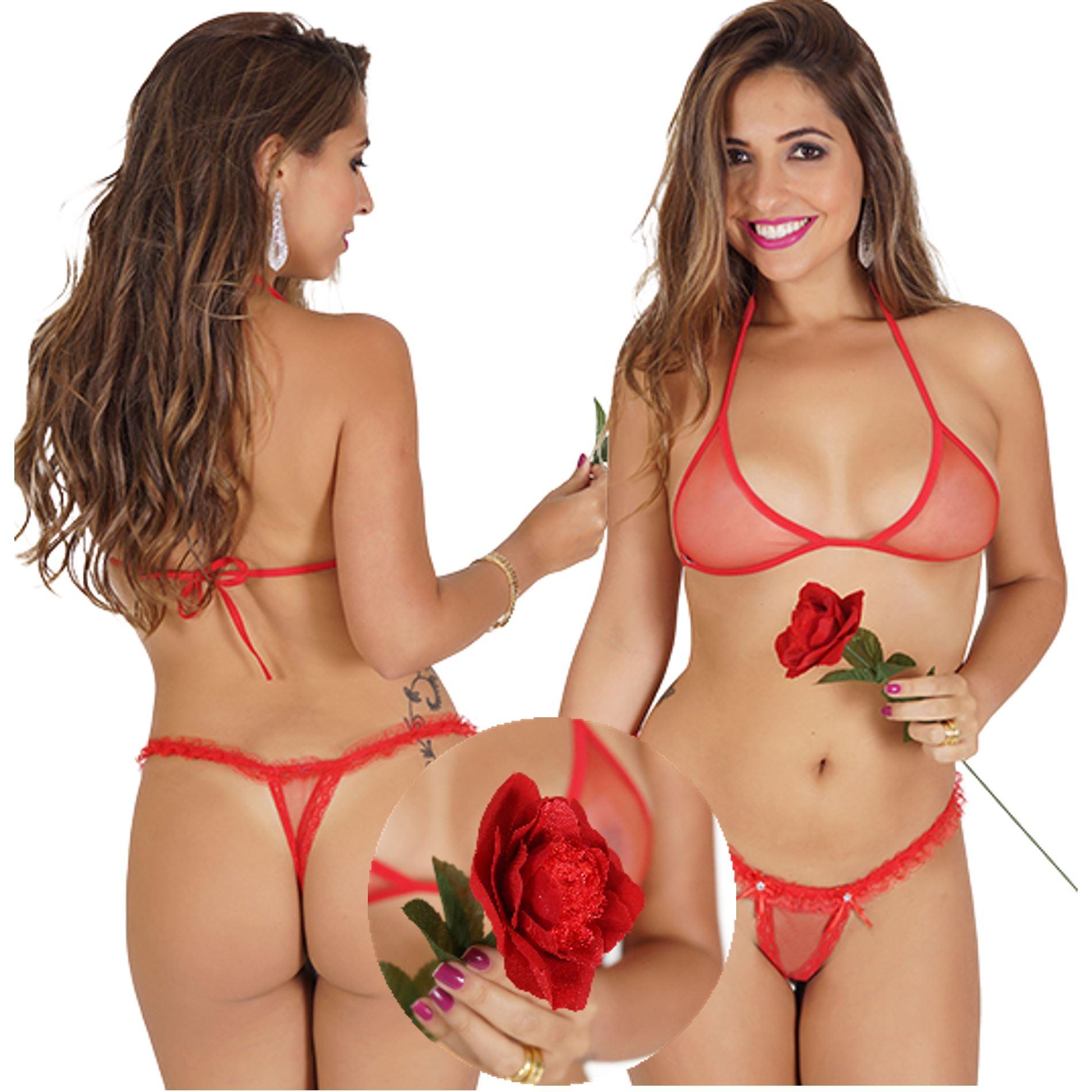 Conjunto Lingerie Tanga Flor Sensual  - Fribasex - Fabricasex.com