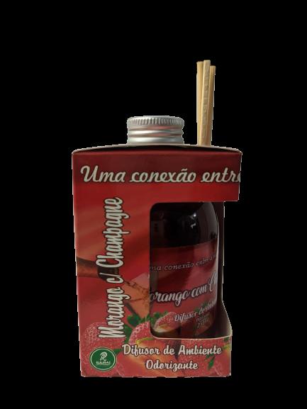 Kit com 3 DIfusores de Ambiente Odorizadores Tipo: Canela,Lavanda,Morango c/ Champanhe 250ml   - Fribasex - Fabricasex.com